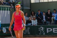 Eugenie Bouchard in second round match, Roland Garros 2014. Paris, France - May 30, 2014: Eugenie Bouchard of Canada during the 2nd round match at French Open Royalty Free Stock Photos