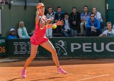 Eugenie Bouchard in second round match, Roland Garros 2014. Paris, France - May 30, 2014: Eugenie Bouchard of Canada during the 2nd round match at French Open Royalty Free Stock Images