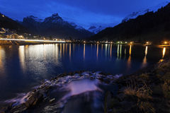 Eugenisee Lake and Engelberg at sunet Stock Photo