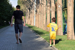 Eugeniy Seleznev and his son Royalty Free Stock Photography