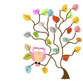 Baum und Eule Stockfoto