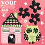 Eule mit Haus- und Blumenillustration Lizenzfreie Stockbilder