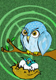 Eule mit Nest Stockfoto