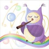 Eule spielen die Flöte auf dem Regenbogen, Seifenblasen fliegen um sie vektor abbildung