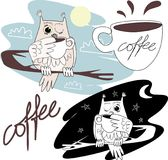 Eule trinkt Kaffee Lizenzfreies Stockbild