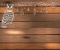 Eule und Dekorationen für schönes Feiertagsdesign Lizenzfreies Stockbild