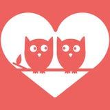 Eulen Liebes-im minimalen Vektor-Hintergrund, Design des Valentinsgrußes s Tages Lizenzfreie Stockfotografie