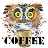 Eulen-T-Shirt Grafiken Kaffee- und Eulenillustration mit Spritzenaquarell maserte Hintergrund Stockfotos