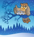 Eulenfamilie im Winter Lizenzfreies Stockfoto