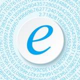 Euler` s aantal met een schaduw op een digitale achtergrond Wiskundig constant, decimaal irrationeel aantal vector illustratie