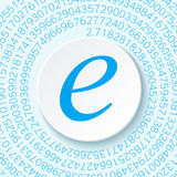 Euler`s number with a shadow on a digital background. Mathematical constant, decimal irrational number Stock Image