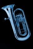Euphonium azul de la tuba en negro Fotos de archivo libres de regalías