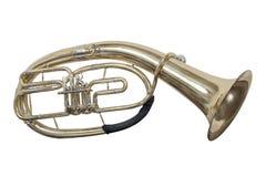 Euphonium classique de baryton d'instrument de musique de vent d'isolement sur le fond blanc photographie stock libre de droits