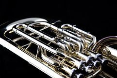 Euphonium de bronze da tuba do ouro foto de stock