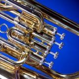Euphonium de la tuba en azul Foto de archivo libre de regalías