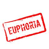 EUPHORIA red rubber stamp isolated on white. EUPHORIA red rubber stamp isolated on white background. Grunge rectangular seal with text, ink texture and splatter Royalty Free Stock Photography