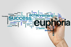 Euphoria word cloud concept on grey background Stock Photos