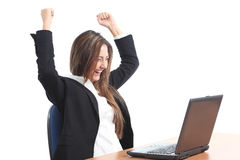 Euphoric business woman watching a laptop Stock Photo
