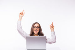 Euphoric and success Business Woman  with glasses using laptop computer pc. Royalty Free Stock Photo