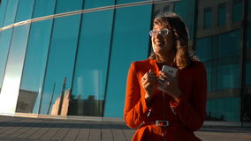 Euphoric woman exult of winning stock footage