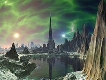 Euphorie-Kontrollturm auf Planeten Electra Stockfoto