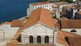 Euphrasian basilica in Porec. High view on Euphrasian basilica in the historic centre of Porec, Croatia Royalty Free Stock Photography