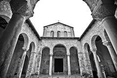 Euphrasian Basilica in Porec arcades black and white view. UNESCO world heritage site in Istria, Croatia Stock Images
