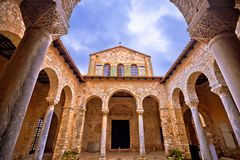 Euphrasian Basilica in Porec arcades and tower view. UNESCO world heritage site in Istria, Croatia Royalty Free Stock Photography