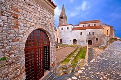 Euphrasian Basilica in Porec astefacts and tower view. UNESCO world heritage site in Istria, Croatia Royalty Free Stock Image