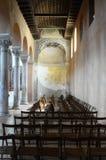 Euphrasian basilica in Porec, Croatia. Inside of Euphrasian basilica in Porec, Croatia with church chairs stock photo