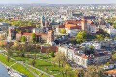 美丽的克拉科夫,波兰, Eur前首都全景  库存照片
