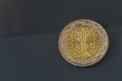 2 EUR coin issued by France - liberty, equality, fraternity Stock Images