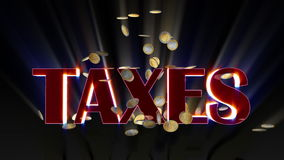 EUR coins falling and being hit by shiny word Taxes, Alpha included, stock footage Stock Photography