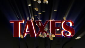 EUR coins falling and being hit by shiny word Taxes, stock footage Royalty Free Stock Photos