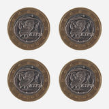 1 EUR coins from Greece Royalty Free Stock Photo