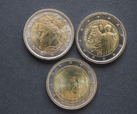 EUR coins with Italian writers Stock Photos