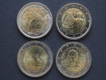 EUR coins with Italian writers Royalty Free Stock Photography