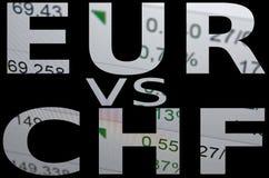 EUR contro il CHF Fotografia Stock