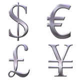 Eur, dollar, yen, pound symbols Royalty Free Stock Image