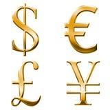 Eur, dollar, yen, pound symbols Royalty Free Stock Image