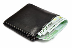 Eur geld in portefeuille stock afbeeldingen