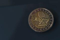 2 EUR Münze, Slowenien, berühmten Dichter France Preseren darstellend Stockbild