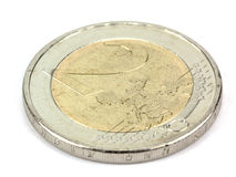 2 EUR Münze - Währung der EU Lizenzfreie Stockfotos