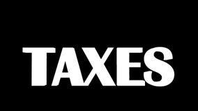 EUR-muntstukken die en door glanzende woordbelastingen vallen worden geraakt, Alpha- inbegrepen, voorraadlengte royalty-vrije illustratie