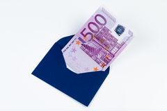 500 EUR note in a tiny envelope. 500 € note in a tiny envelope Royalty Free Stock Images