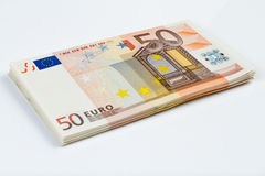 50 EUR notes stack. 50 EUR new notes stack Royalty Free Stock Photos