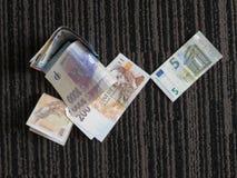 EUR- och CZK-anmärkningar Royaltyfri Fotografi