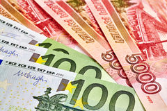 EUR and Russian RUB baknotes. Royalty Free Stock Photos