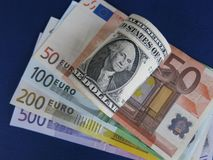 EUR/USD banknoty Obraz Royalty Free