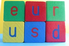 EUR/USD na blokach Zdjęcie Stock